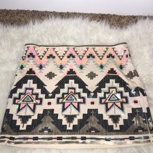 Express Sequin Aztec Print Skirt Size M